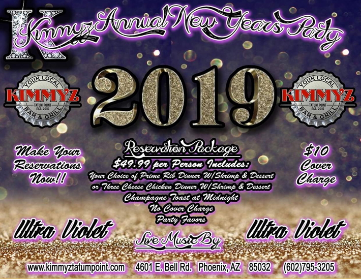 Annual New Years Party at Kimmyz Tatum Point - Live Music in Phoenix
